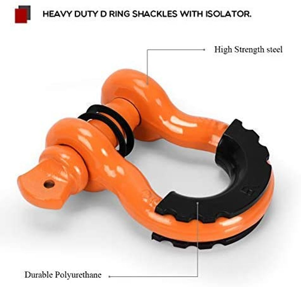 """YITAMOTOR 3/4"""" Shackles (2 Pack) Heavy Duty D Ring Shackle 41,887Ib Break Strength (7/8'' Screw Pin) with Isolators & Washer Kit for Off-Road Jeep Truck Vehicle Recovery (Orange)"""