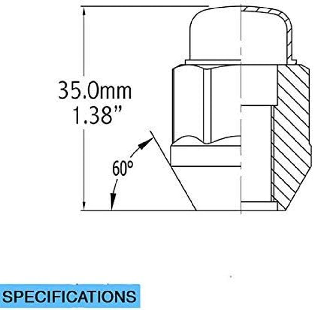 Dual Coating 20 Chrome 12x1.5 Closed End Bulge Acorn Lug Nuts - Cone Seat - 19mm Hex Wheel Lug Nut
