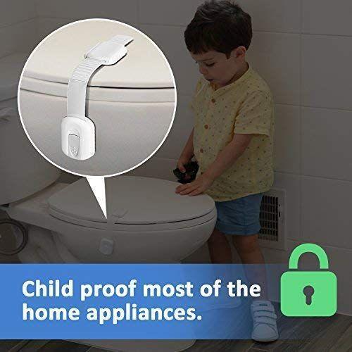 Child Safety Strap Locks (4 Pack) for Fridge, Cabinets, Drawers, Dishwasher, Toilet, 3M Adhesive No Drilling - Jool Baby