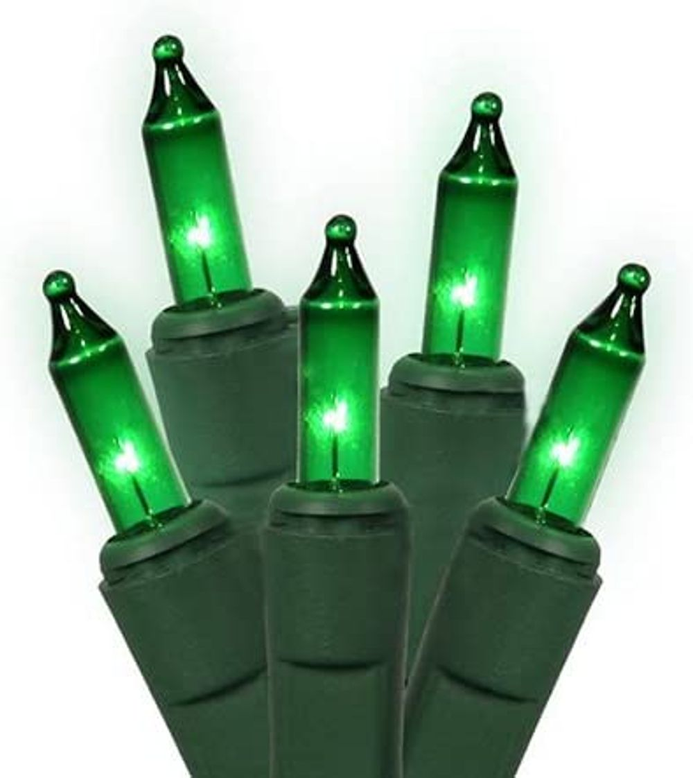 Holiday Essentials 100 Ultra-Brite Green Lights with Green Wire - Indoor / Outdoor Use - UL Listed