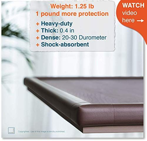 Roving Cove | Baby Proofing Edge & Corner Guards | Child Safety Furniture Bumper | Table Protectors | Pre-Taped Corners | Safe Edge & Corner Cushion | 16.2 ft [15 ft Edge + 4 Corners] | Coffee Brown