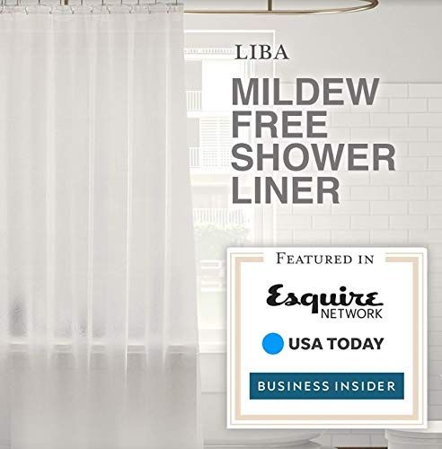 LiBa Mildew Resistant Antimicrobial PEVA 8G Shower Curtain Liner, 72x72 Clear is Non Toxic, Eco Friendly, No Chemical Odor, Rust Proof Grommet