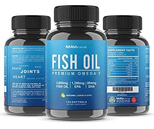 MAV Nutrition Omega 3 Fish Oil Triple Strength, 3,600mg, Burpless, Non-GMO, NSF-Certified, 120 Count