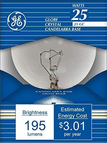 GE Lighting 11303 25-Watt 220-Lumen G16.5 Light Bulb with Candelabra Base, 12-Pack