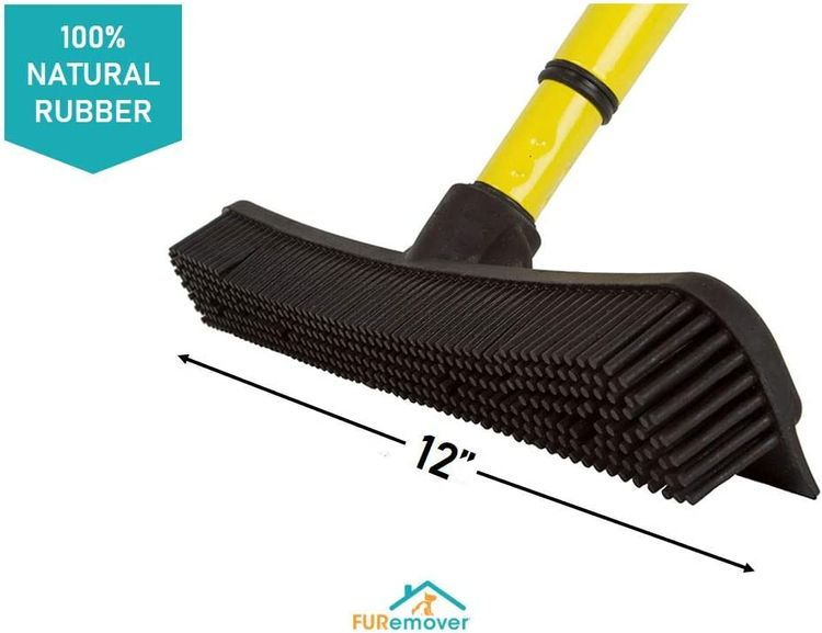Evriholder SW-250I-AMZ-6, FURemover Pet Hair Removal Broom with Squeegee & Telescoping Handle That Extends from 3 - 5', Black & Yellow