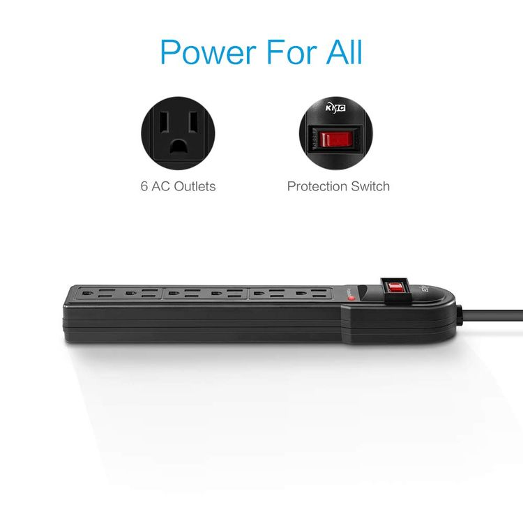 KMC 6-Outlet Surge Protector Power Strip 2-Pack, 900 Joule, 4-Foot Cord, Overload Protection, Black