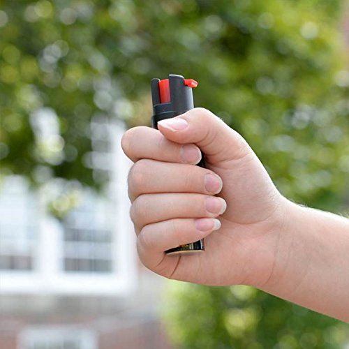 SABRE Advanced Compact Pepper Spray with Clip – 3-in-1 Pepper Spray, CS Tear Gas & UV Marking Dye – Maximum Police Strength OC Spray, 10-Foot (3M) Range, 35 Bursts – Optional Practice Spray