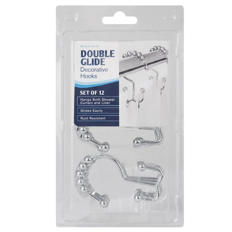 Maytex Metal Double Roller Glide Shower Curtain Ring/Hooks, Brushed Nickel, Set of 12