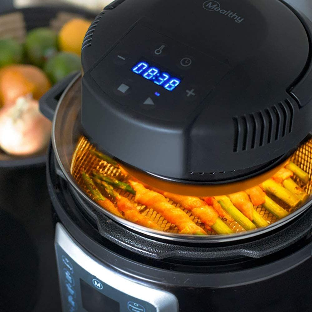Mealthy CrispLid for Pressure Cooker - Turns your Pressure Cooker into an Air Fryer - Air fry, Crisp or Broil fits 6 & 8 Q Pot Basket, Trivet, Silicone Mat, Tongs plus Instant access Free Recipe App