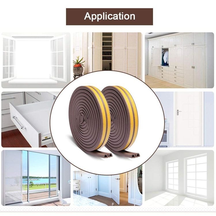 KELIIYO Door Weather Stripping, Window Seal Strip for Doors and Windows- Self-adhisive Foam Weather Strip Door Seal | Soundproof Seal Strip for Cracks and Gaps Epdm D Type (66Ft) 2 Pack (Brown)