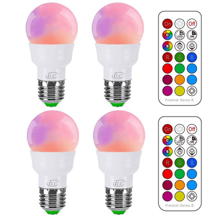iLC RGB LED Light Bulb, Color Changing Light Bulb Dimmable 3W E26 Screw Base RGBW, Mood Light Flood Light Bulb - Dual Memory - 12 Color Choices - Timing Infrared Remote Control Included (4 Pack)