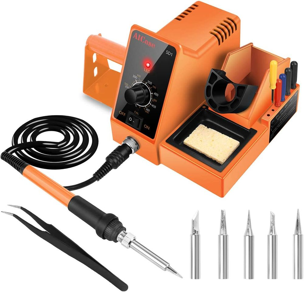 AICase Soldering Iron Station, 60-Watt, 110 Volt, 392°F-896°F (C/F) Temperature Adjustable, 6 Seconds Rapid Heating Anti-Static Solder Iron Station Kit with Solder Roll Holder/Screwdriver Holder