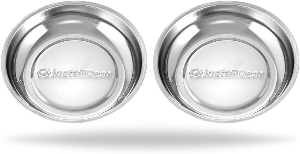 """InstallGear Magnetic Parts Tray 4"""" Stainless Steel (2 Pack)"""