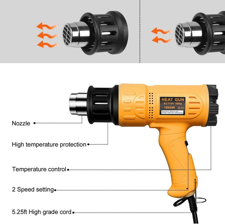 SEEKONE Heat Gun 1800W Heavy Duty Hot Air Gun Kit Variable Temperature Control with 2-Temp Settings 4 Nozzles 122℉~1202℉(50℃- 650℃)with Overload Protection for Crafts, Shrinking PVC, Stripping Paint