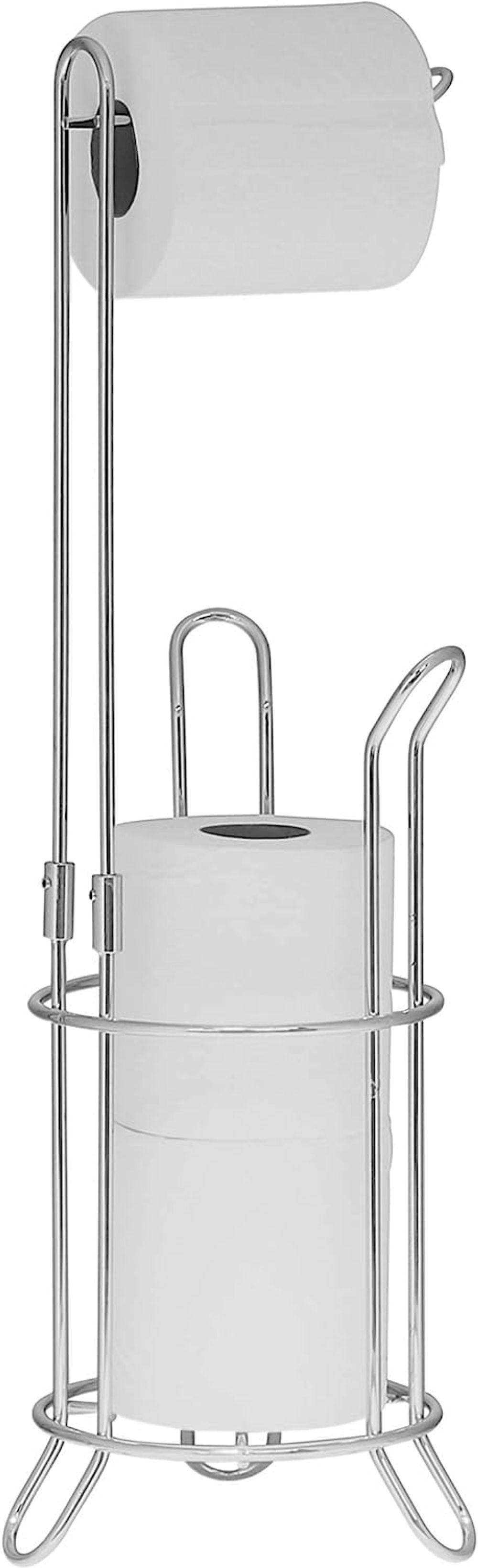 Simple Houseware Bathroom Toilet Tissue Paper Roll Storage Holder Stand, Chrome Finish