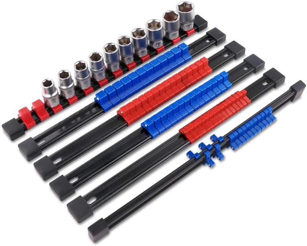 "VERTAK 6Pcs Set ABS Socket Organizer Tray ail - Holds up to 86 Sockets 1/4"" Drive x 32 Clips, 3/8"" Drive x 30 Clips, 1/2"" Drive x 32 Clips Premium Quality Socket Holder"