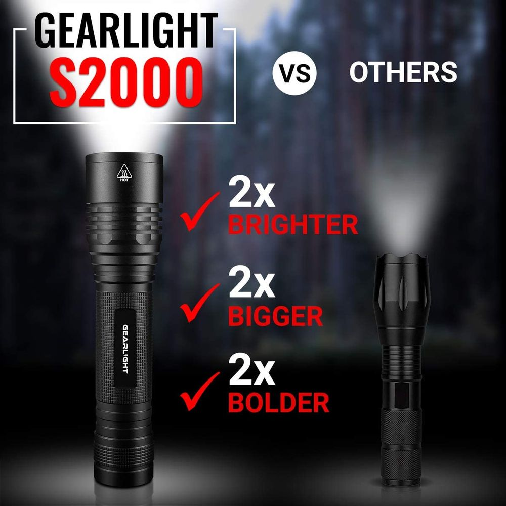 GearLight High-Powered Led Flashlight S2000 - Brightest High Lumen Light, Zoomable and Water Resistant - Powerful Camping and Emergency Gear Flashlights