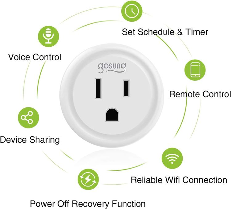 Smart Plug Gosund Wifi Outlet Work with Alexa & Google Assistant, Mini Socket with Timer Surge Protector Function, FCC ETL Certification(2 Pack)