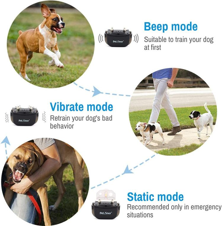 Dog Shock Collar - Remote Dog Training Collars with 3 Correction Training Modes, Shock, Vibration, Beep, Rechargeable Waterproof E-Collar for Dogs Small, Medium, Large, 1000' Remote Trainer Range