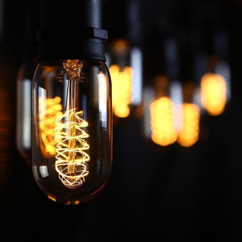 CTKcom T45 25W Vintage Antique Light Bulbs w/E26 E27 base(4 Pack)- Antique Dimmable Incandescent Bulb Spiral Tungsten Equivalent Warm Yellow Lamps For Home Light Fixtures Decorative 110V-130V E26 Base