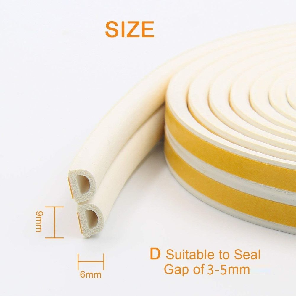PRUGNA 20Ft Door Seal Weather Stripping, Window Rubber Seal Strip Self Adhesive Foam Tape for Door Window Gap and Wind Blocker, 3/8-Inch x 1/4-Inch x 20-Feet (White)