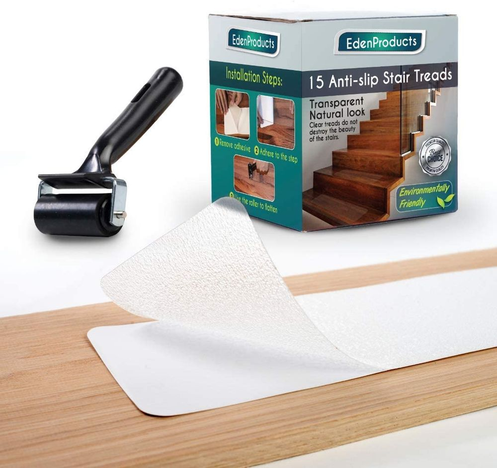 """EdenProducts(15-Pack) Pre Cut Transparent 24"""" x 4"""" Non Slip Strips, Safety for Kids, Elders and Pets, Adhesive Stair/Floor Treads, Indoor, Outdoor, Prevents Slipping, PVC Free"""