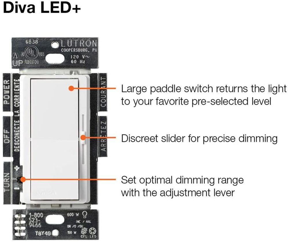 Lutron Diva C.L Dimmer Switch for Dimmable LED, Halogen and Incandescent Bulbs, with Wallplate, Single-Pole or 3-Way, DVWCL-153PH-WH, White