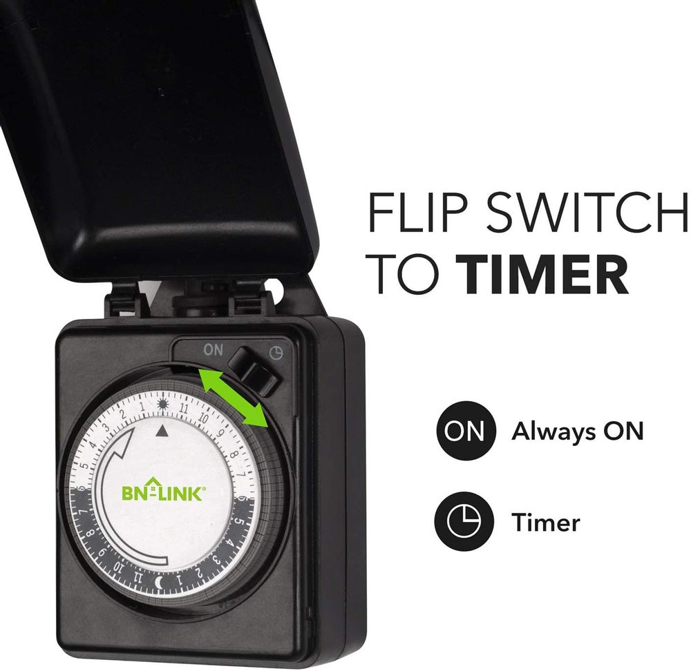 BN-LINK Compact Outdoor Mechanical 24 Hour Programmable Dual Outlet Timer - Plugin timer, Waterproof, Heavy Duty