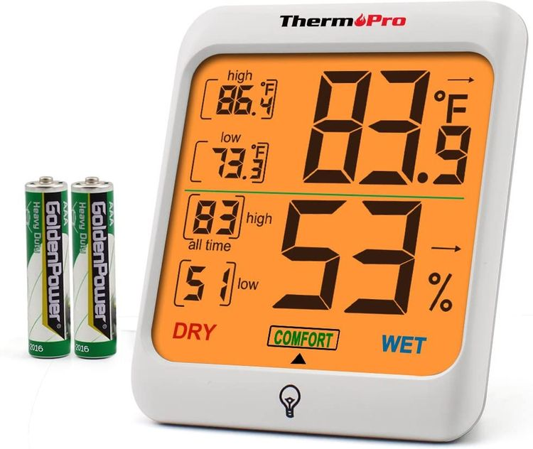 ThermoPro TP53 Hygrometer Humidity Gauge Indicator Digital Indoor Thermometer Room Temperature and Humidity Monitor with Touch Backlight