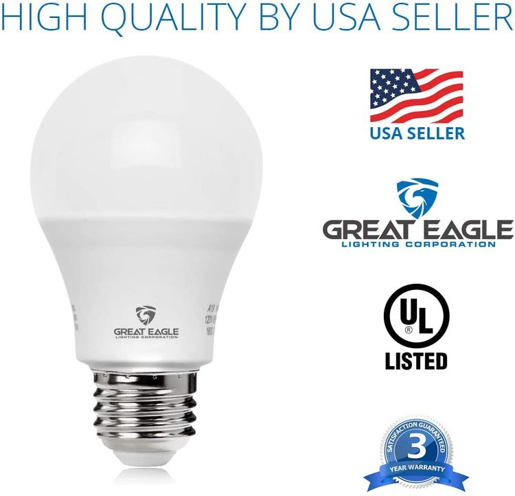 Great Eagle 100W Equivalent LED Light Bulb 1550 Lumens A19 2700K Warm White Non-Dimmable 15-Watt UL Listed (6-Pack)
