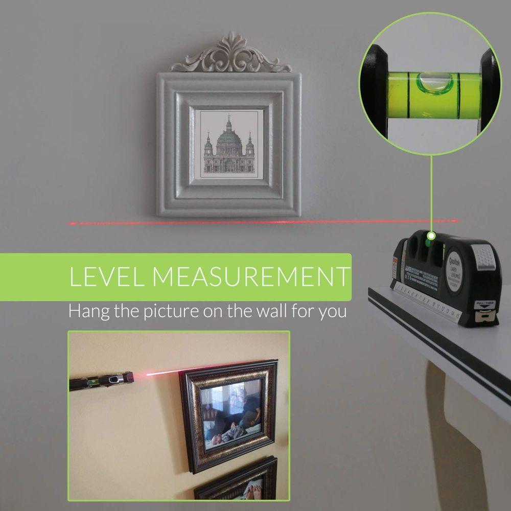 Qooltek Multipurpose Laser Level Laser Line 8 feet Measure Tape Ruler Adjusted Standard and Metric Rulers for hanging pictures
