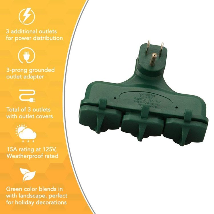 3-Outlet Adapter Suitable For Outdoor Or Indoor Use, Weatherproof, Ideal for Holiday Decorations, Space Saving Right Angled Multi Adapter, Durable and Versatile, Green Color Limit Edition