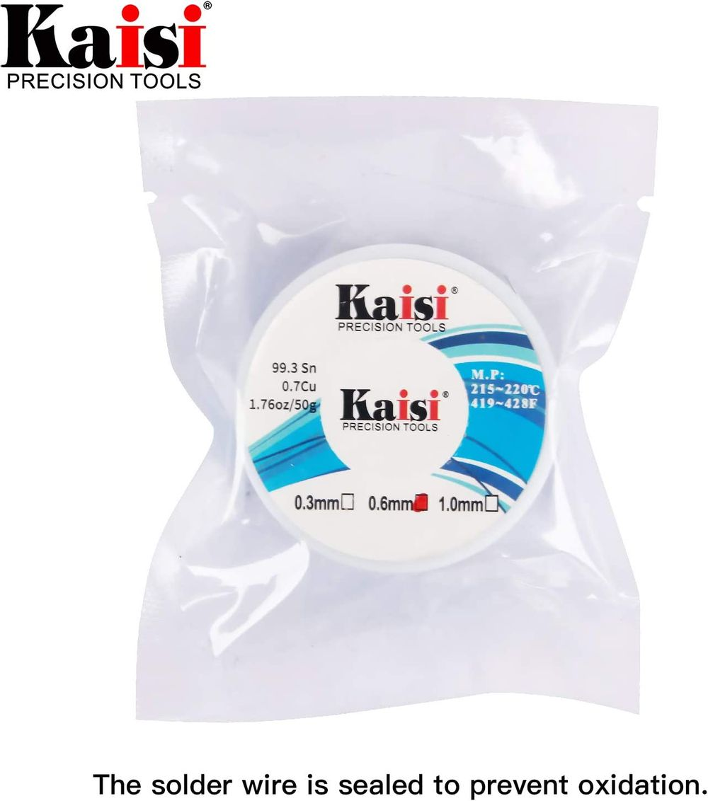Kaisi lead-free solder wire, Sn 99.3% Cu 0.7%, 1.7oz(50g) (0.3mm)