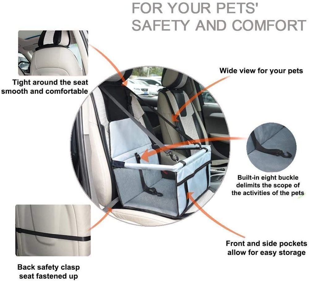 WOPET Pet Booster Seat,Deluxe Pet Dog Booster Car Seat with Clip-On Safety Leash and Zipper Storage Pocket– Perfect for Small and Medium Pets up to 20 lbs (Grey) (Grey)