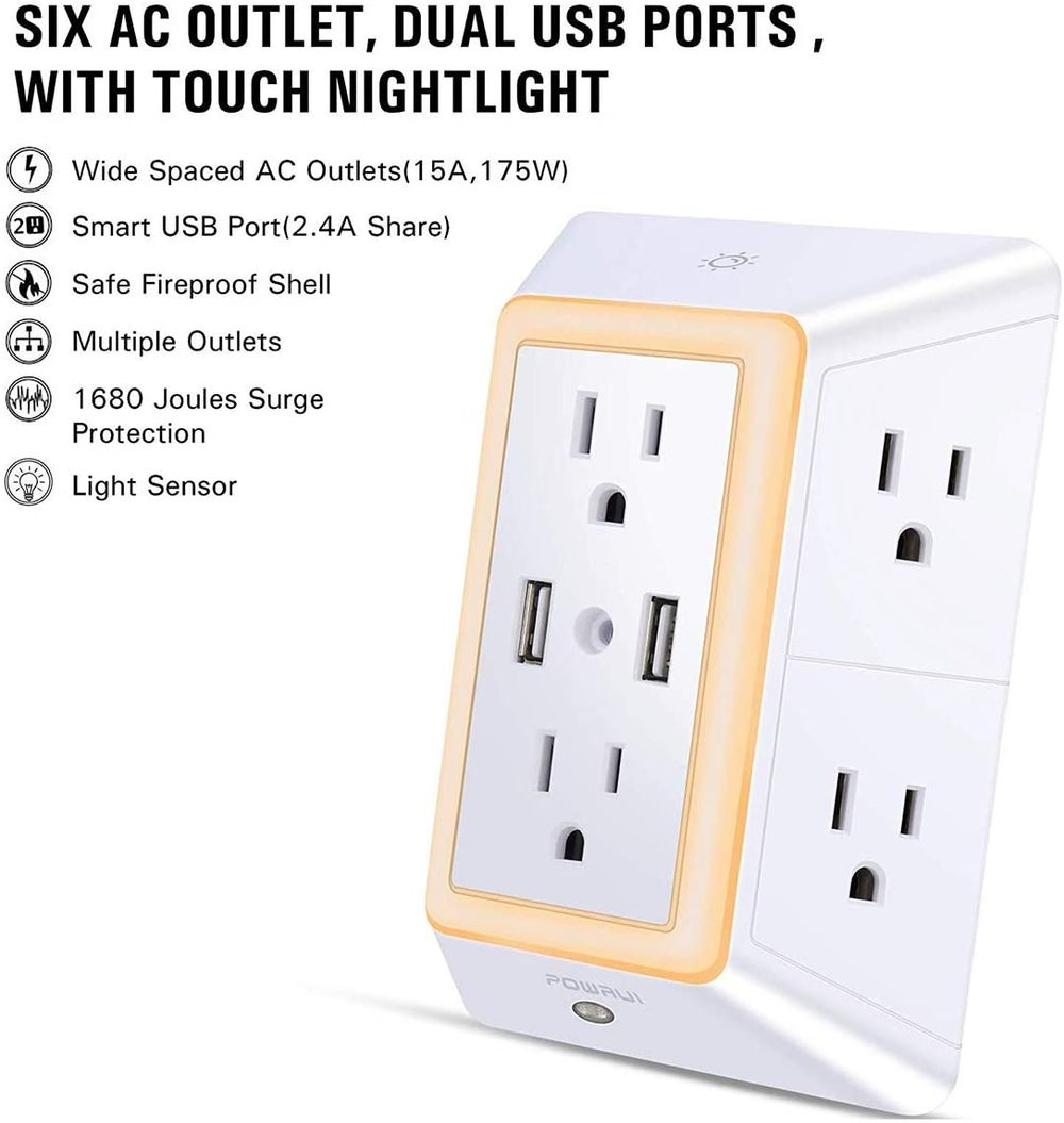 USB Wall Charger, Surge Protector, POWRUI 6-Outlet Extender with 2 USB Charging Ports (2.4A Total) and Night Light, 3-Sided Power Strip with Adapter Spaced Outlets - White,ETL Listed