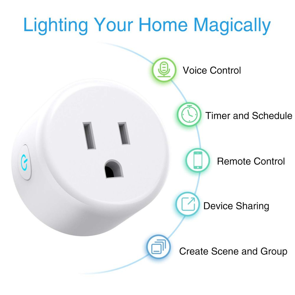 Smart Plug Wifi Outlet Work with Alexa and Google Home, 4 Pack Mini Smart Sockets Use Mi Home APP Control From Anywhere, 2.4Ghz Wifi, No Hub Required