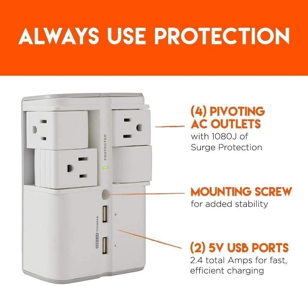 ECHOGEAR On-Wall Surge Protector with 4 Pivoting AC Outlets & 2 USB Ports – Packs 1080 Joules of Surge Protection & Installs On Existing Outlets to Protect Your Gear & Increase Outlet Capacity