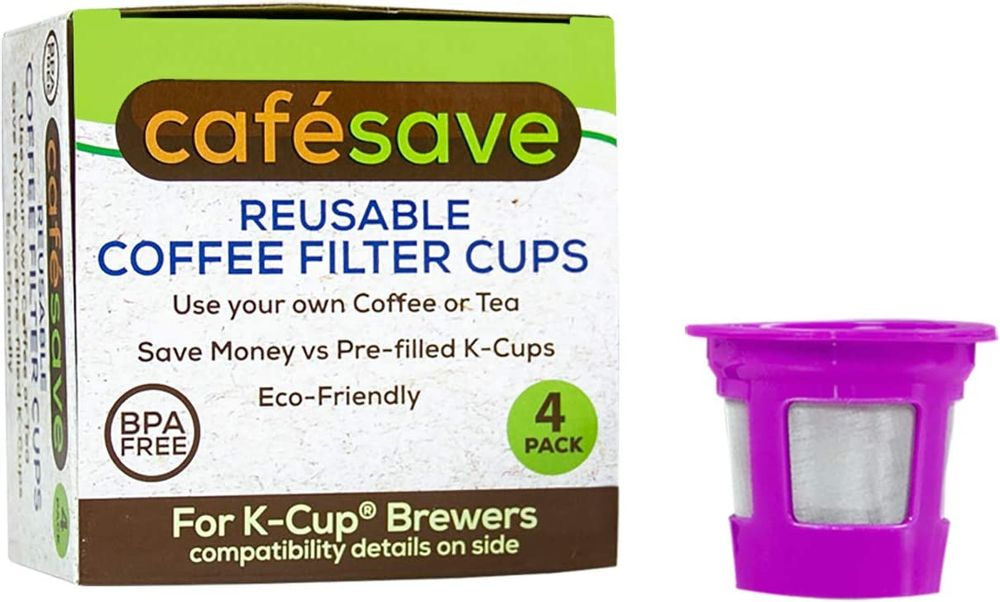 Perfect Pod ECO-Save Reusable K-Cup Coffee Pod Filters | Refillable Capsules with Built-In, Integrated Mesh Strainer, 4-Pack