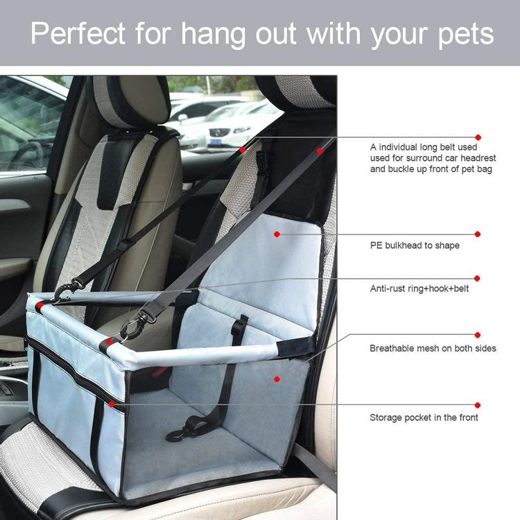 WOPET Pet Booster Seat,Deluxe Pet Dog Booster Car Seat with Clip-On Safety Leash and Zipper Storage Pocket– Perfect for Small and Medium Pets up to 20 lbs (Grey)