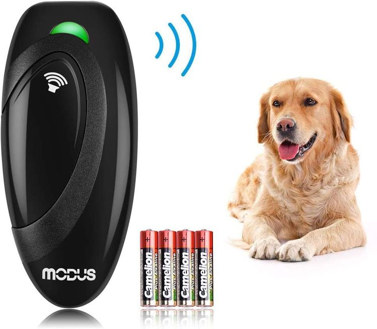 Modus Anti Barking Device, Ultrasonic Dog Bark Deterrent and 2 in 1 Dog Training Aid Control Range of 16.4 Ft w/Anti-Static Wrist Strap LED Indicate 100% Safe Walk a Dog Outdoor