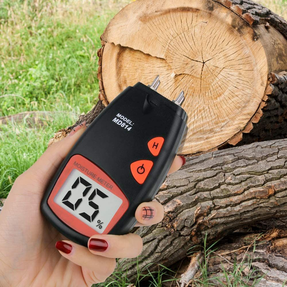 AIRSSON Wood Moisture Meter, Handhold LCD Wood Water Moisture Tester, 4 Pins Sensor, 9V Battery (Included),Range 2% - 40%, Accuracy: ±0.5%, MD814(updated MD812)