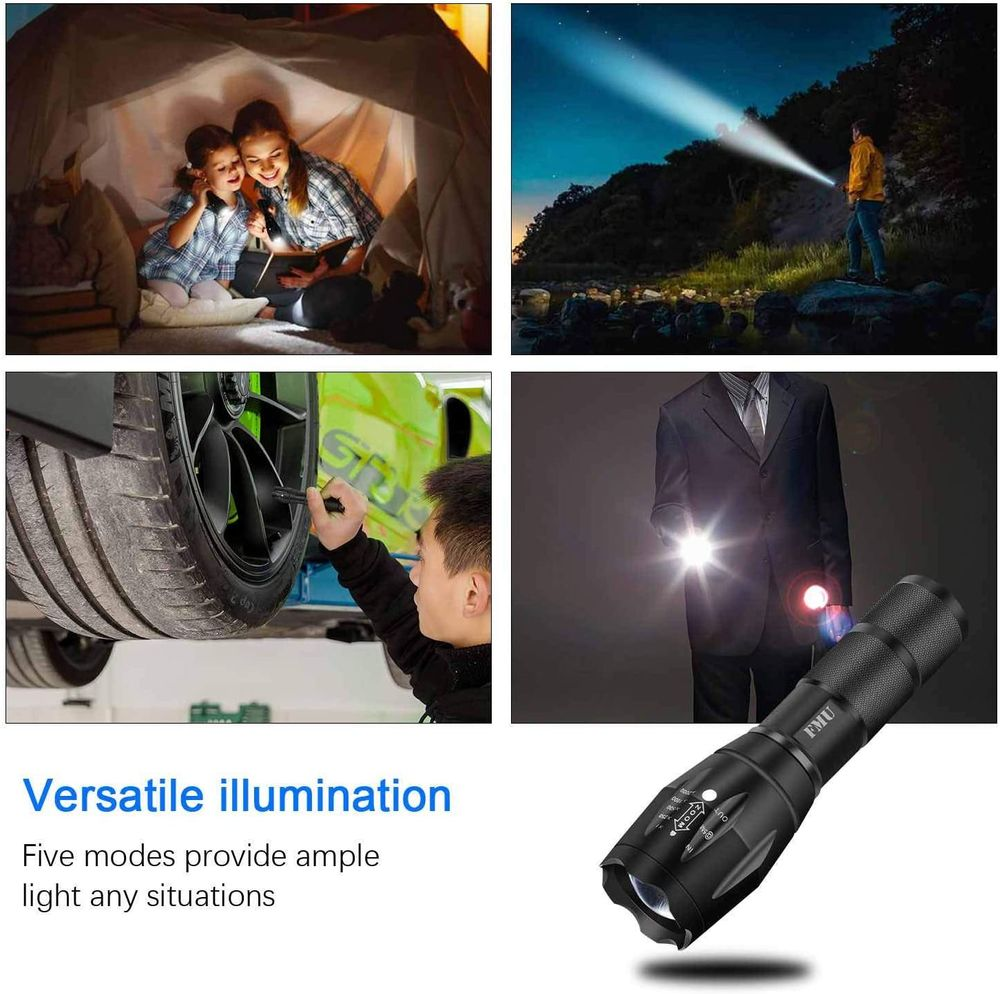 Gaslen LED Tactical Flashlight - High Lumen Rechargeable Water Resistant Torch Light, Zoomable, Camping, Outdoor, Emergency, Everyday Flashlights with Clip