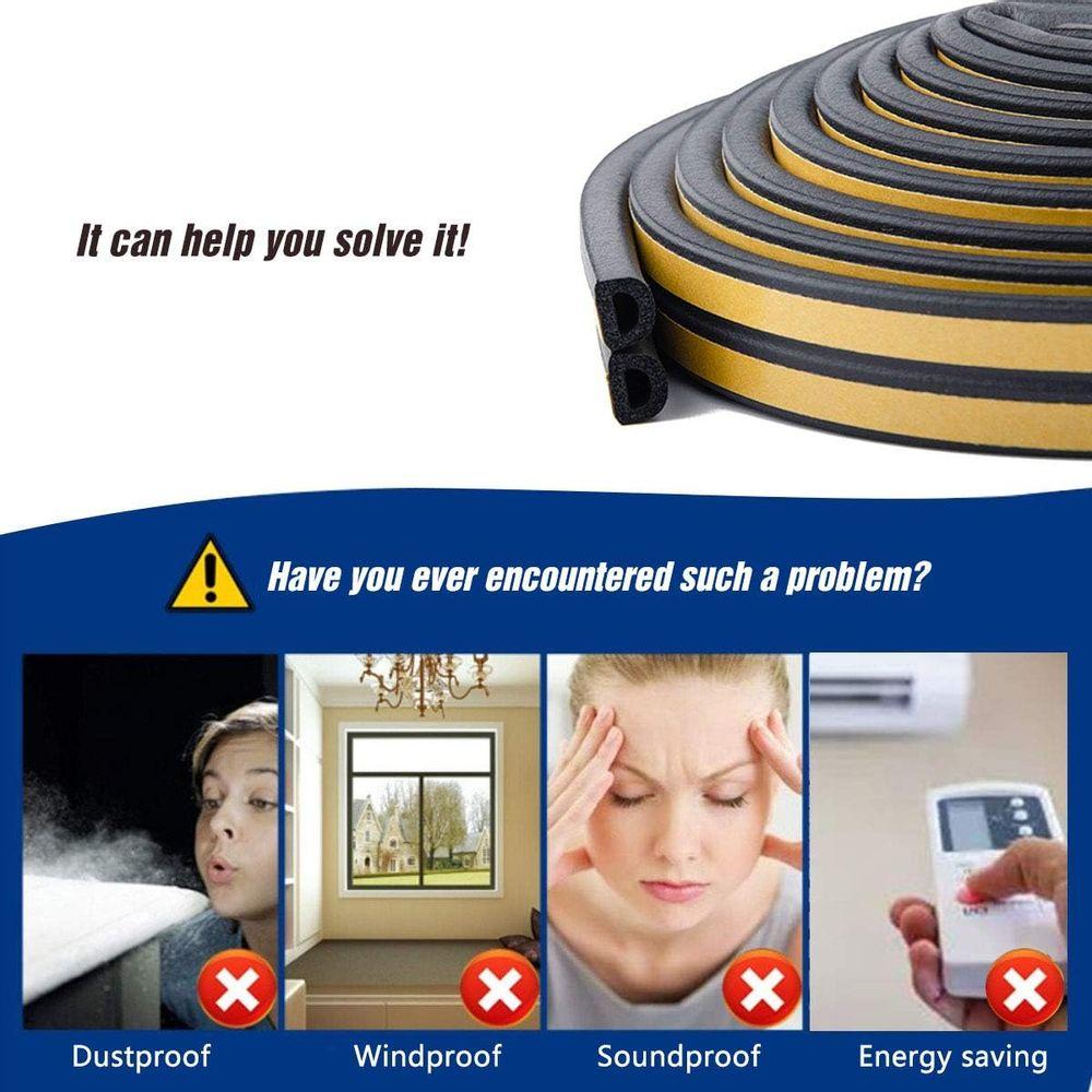 Keeping Fun Indoor Weather Stripping,Self Adhesive Foam Window Seal Strip for Doors and Windows Soundproofing Weatherstrip Gap Blocker,7/20-Inch x 6/25-Inch x 8-Feet, (Black)