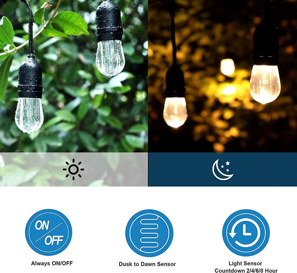 DEWENWILS ODT12B Outdoor Light Sensor Timer, Waterproof Plug in Dusk to Dawn Outlet Timer Switch, 100 ft Remote Control, 2 Grounded Electrical Outlets for Christmas Holiday Light 1/2HP UL Listed