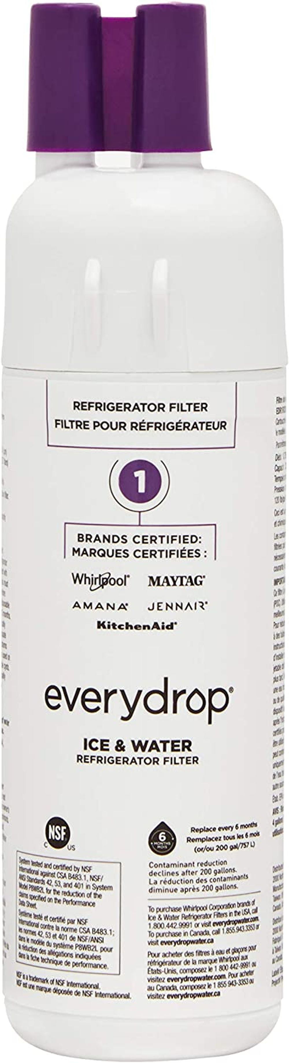 EveryDrop by Whirlpool Refrigerator Water Filter 1 (Pack of 1) (Packaging may vary) - 10383251