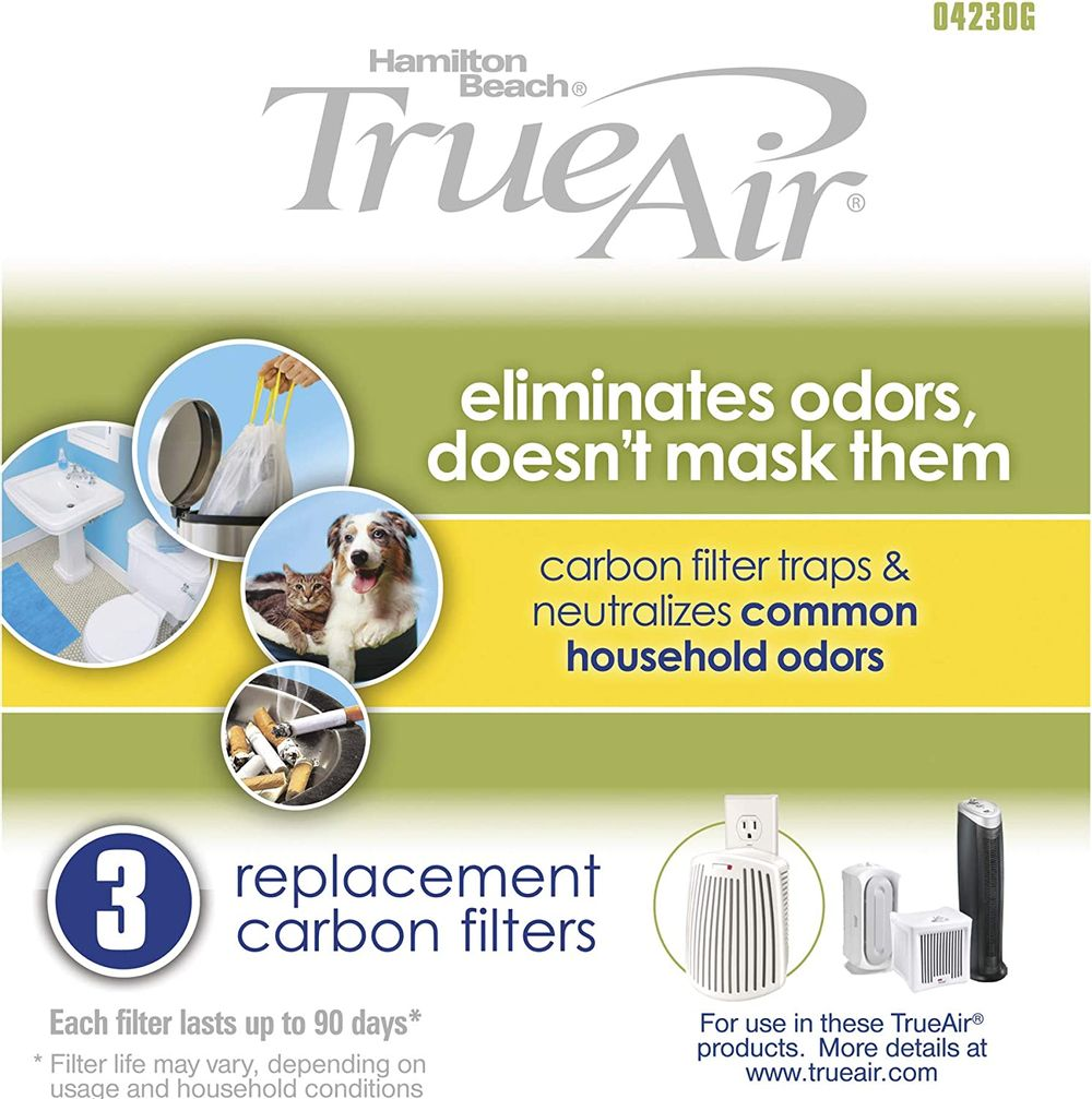 Hamilton Beach TrueAir Replacement Carbon Filter for Odor Eliminators, Common Household-Trash, Pet, Smoke and Bathroom, 3-Pack (04230G)