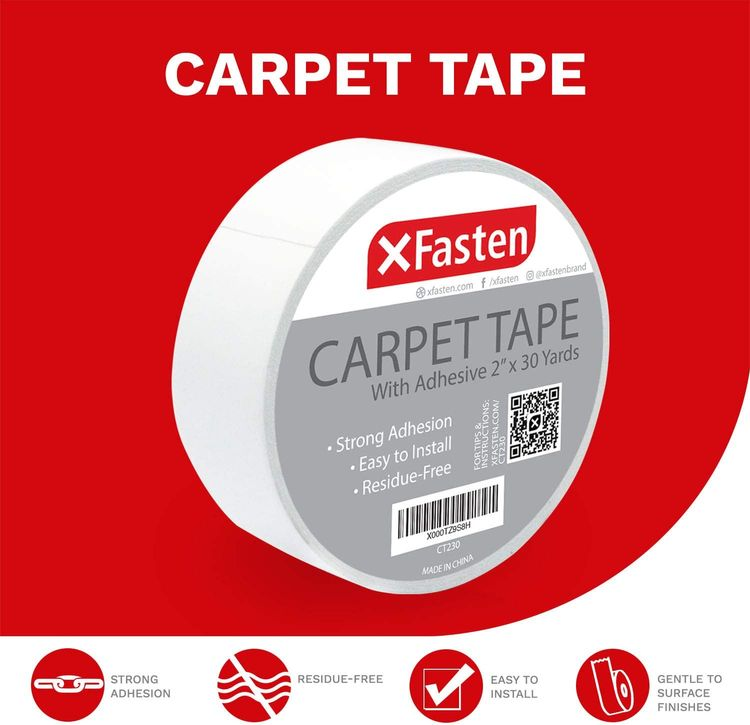 XFasten Double Sided Carpet Tape for Area Rugs, Residue-Free, 2-Inch x 30 Yards; Wood Safe 2 Faced Rug Tape for Carpet to Floor and Rug to Carpet Applications