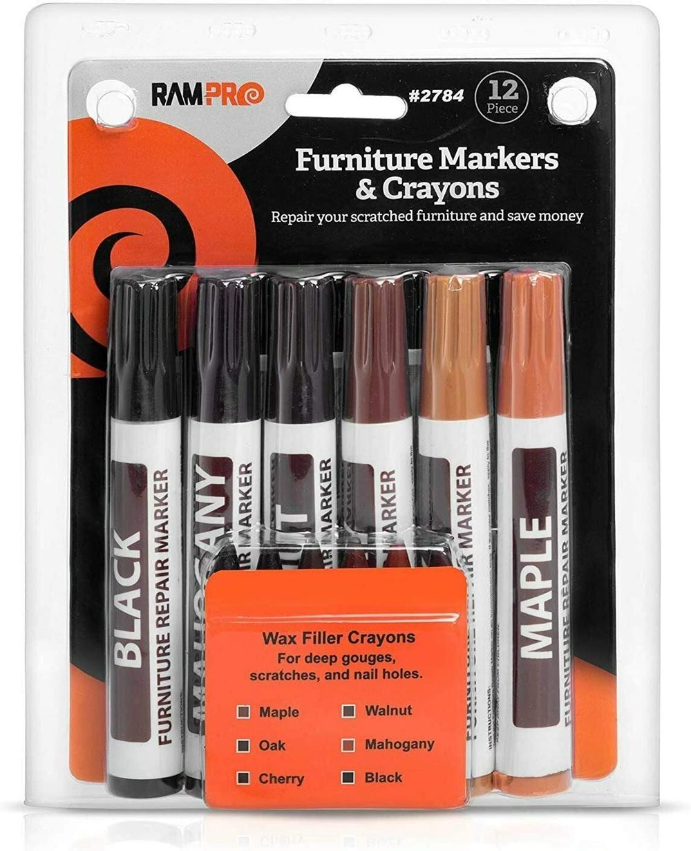 Ram-Pro Furniture Markers Touch Up Repair System - 12Pc Scratch Restore Kit - 6 Felt Tip Wood Markers, 6 Wax Stick Crayons   Colors: Maple, Oak, Cherry, Walnut, Mahogany, Black