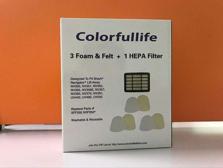 Colorfullife 2 Hepa Filter 4 Foam for Shark Vacuum Cleaner Navigator Lift-Away NV350, NV351, NV352, NV355, NV356E, NV357, NV360, NV370, NV391, UV440, UV490, UV540 Part XFF350 XHF350
