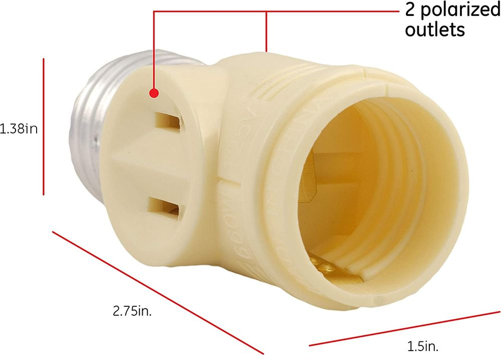 GE Adapter 10 Pack, Add Bulb, 2 Prong Polarized Outlets, Medium Base Socket, Use in Workshop, Garage or Utility Room, UL Listed, Ivory, 47907, 10 Count
